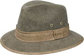 Made Italy di Tessuto da Sole con Fodera Primavera//Estate Stetson Cappello Pork Pie in Lino Anti UV Uomo