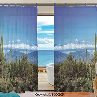 UHOO Tulle Polyester Window Sheer Curtain Wide View of The Tucson Countryside with Cacti Rural Wild Landscape Panels Bedroom Living Room Window Gauze Shade Curtains 55x78 inch Two Panels Set