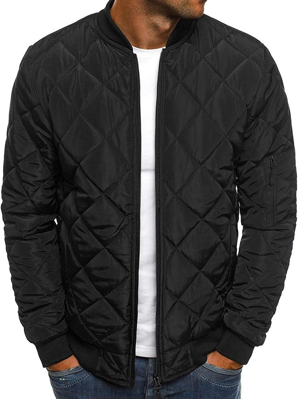 Flygo Men's Diamond Quilted Puffer Bomber Jacket Full Zip Up Softshell Padded Coat