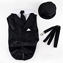 Midlee Dog Tuxedo Wedding Suit- Black Top Hat & Leash