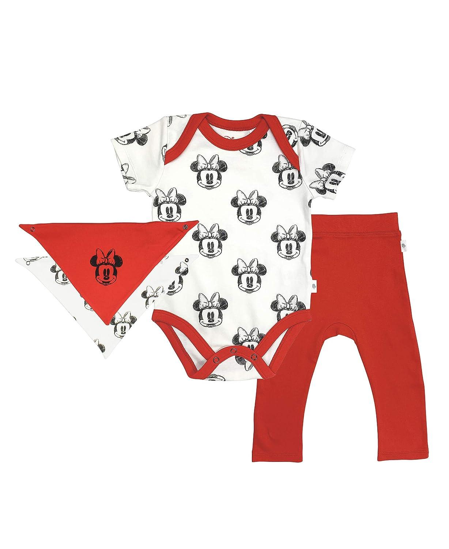 Finn + Emma Disney 3 Piece Organic Cotton Baby Set - Bodysuit, Pants, & Bib - Minnie Mouse - Red & White, 3-6 Months