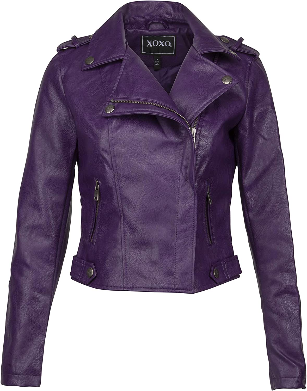 Women's Purple Faux Leather Moto Biker Jacket (Small)
