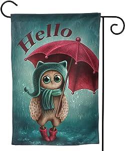 Hello Owl Garden Flag Umbrella House Flag Vertical Double Sided Yard Outdoor Decor Party 12.5 X 18 Inch