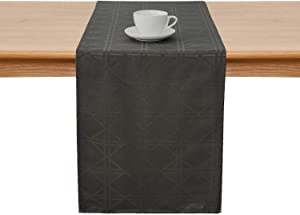Deconovo Jacquard Damask Table Runner Wrinkle and Water Resistant Spill-Proof Decorative Dining and Wedding Runners with Geometric Patterns 14 x 72 inch Grey …