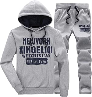 Sodossny-AU Mens Letters Print Tracksuit Sport Hoodie and Sweatpant 2 Piece