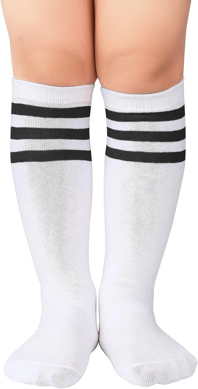 Century Star Kids Toddler Soccer Socks Knee High Tube Socks Three Stripes Cotton Cute Sport Stocking for Boys Girls