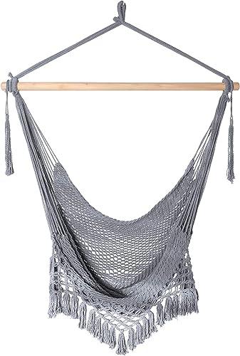 Chihee Silla de Hamaca Silla Colgante supergrande Silla de Tejido de Cuerda de algodón Hilado Suave, Barra separadora...