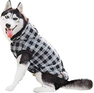 PAWZ Road Dog Plaid Shirt Coat Hoodie Pet Winter Clothes Warm and Soft for Medium and Large Dogs,Upgrade Version