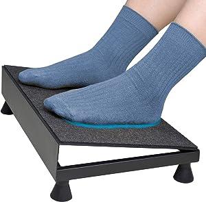 Ergonomic Footrest Stand Heavy Duty Metal Platform Soft Non Slip Felt Surface for Office Desk Home Tilt Foot Rest Stool Relief Back Body Knee Pain(Basic)