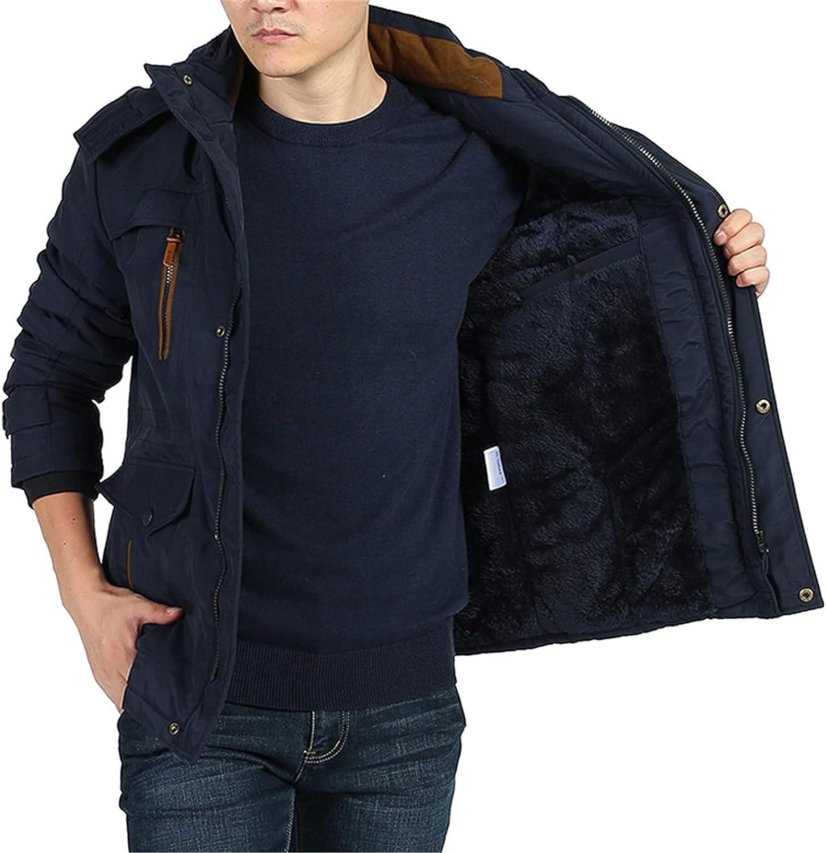 Men's Classic Cotton Hoodie Jacket Winter Fleece Lining Warm Coat Outdoor Parka Jacket Mid Length Windproof Outerwear Coat