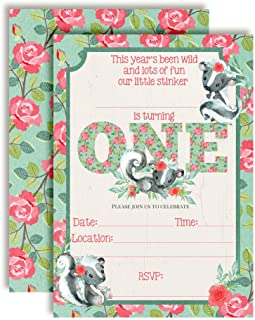 Little Stinker Cute Skunk-Themed First Birthday Party Invitations for Girls, 20 5