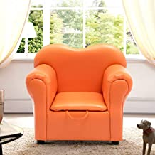 Costzon Kids Sofa, PU Leather Upholstered Armrest, Sturdy Wood Construction, Toddler Chair (Orange Sofa with Storage Box)