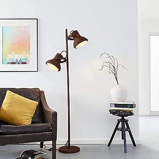 Lámpara de pie, 2 focos, 2 bombillas E27, máx. 60 W, metal, óxido