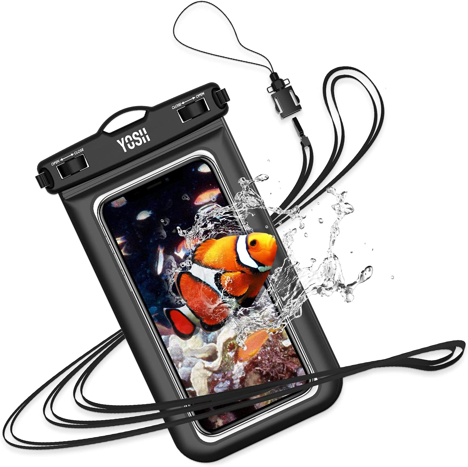 """YOSH Waterproof Phone Case Universal Waterproof Phone Pouch IPX8 Dry Bag Compatible for iPhone 12 11 SE X 8 7 6 Galaxy S20 Pixel up to 6.8"""", for Beach Kayaking Bath Travel - Black"""