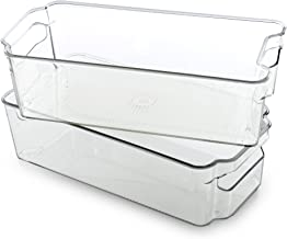 BINO Stackable Rectangular Plastic Storage Organizer Bin, Medium - 2 Pack - Clear and Transparent Nesting Container for Ho...