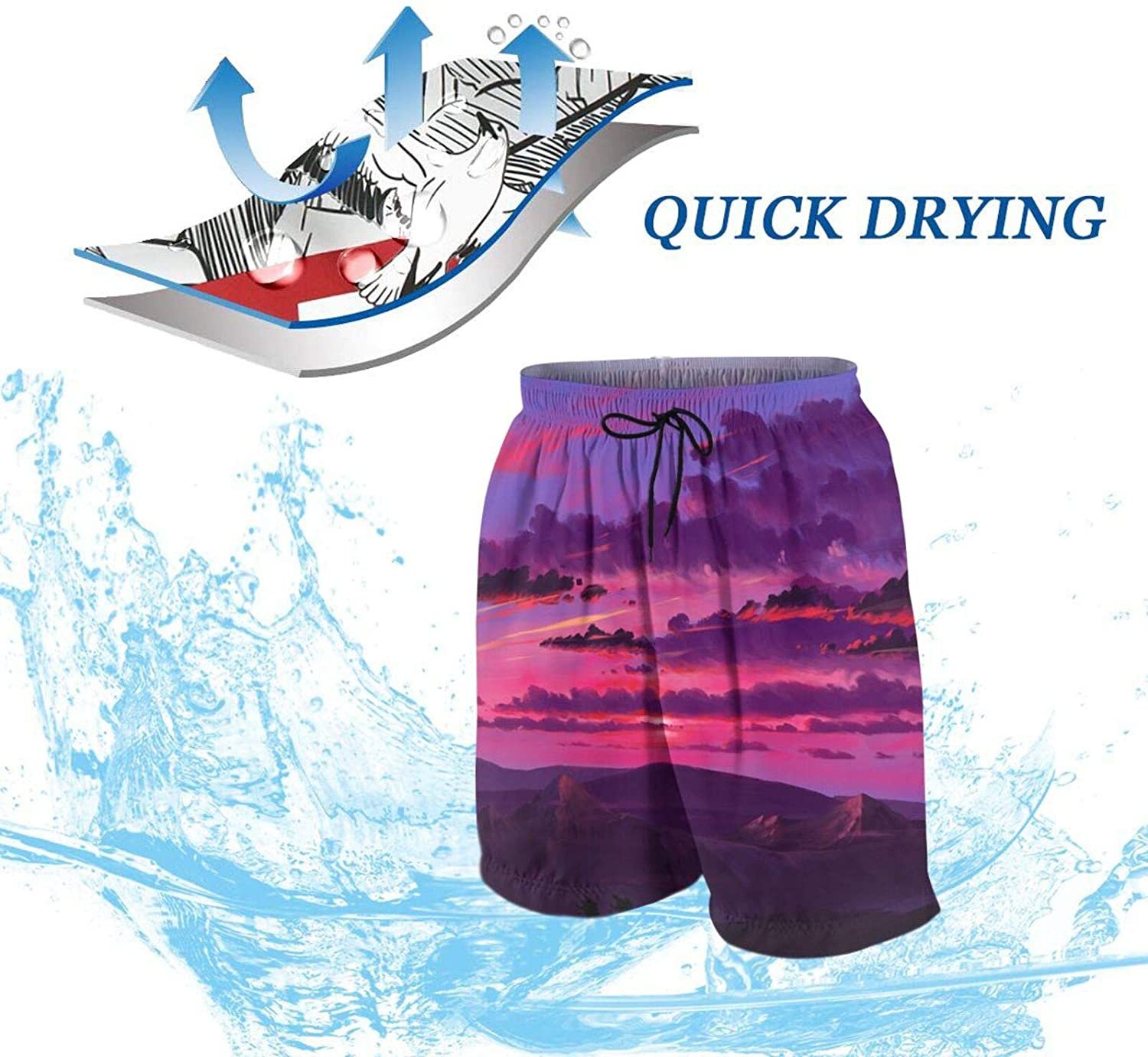 TANBAK Men/'s Swim Trunks Beach Board Shorts Swimsuits Elastic Waist with Pockets Printed Quick Dry Casual