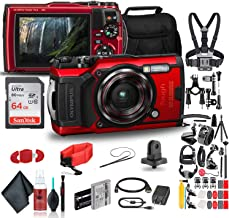 Olympus Tough TG-6 Waterproof Camera (Red) - Action Bundle - with 50 Piece Accessory Kit + Extra Battery + Float Strap + S...