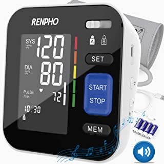 RENPHO Blood Pressure Monitor Upper Arm for Home Use with Speaker, Accurate Automatic BP Machine with Relaxing Music, Large Cuff, Digital Large Display, 2-Users, 240 Recordings