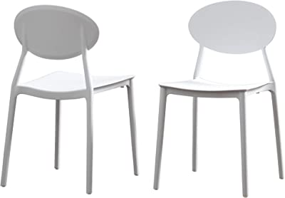Ali Indoor Plastic Chair (Set of 2), White