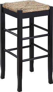 Boraam Square Rush Seat Bar Height Stool, 29-Inch, Black