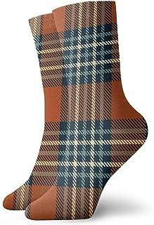 Osmykqe, Calcetines tobilleros deportivos de compresión a media pierna con estampado de cuadros rojo siena azul marino oscuro niño niña