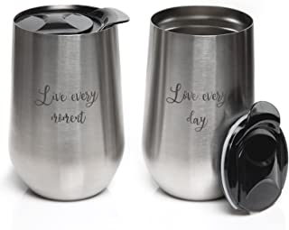 Insulated Stainless Steel Wine Glasses - 2x Stemless Tumbler Cup with Lid - 16 Oz Unbreakable Outdoor Travel Glass Set - Wine & Coffee Stay Cold or Warm for 3 Hours