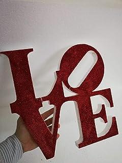 Scritta LOVE in polistirolo ECO 150 38cm x 38cm spessore 3cm con glitter a scelta da appendere anche per eventi.