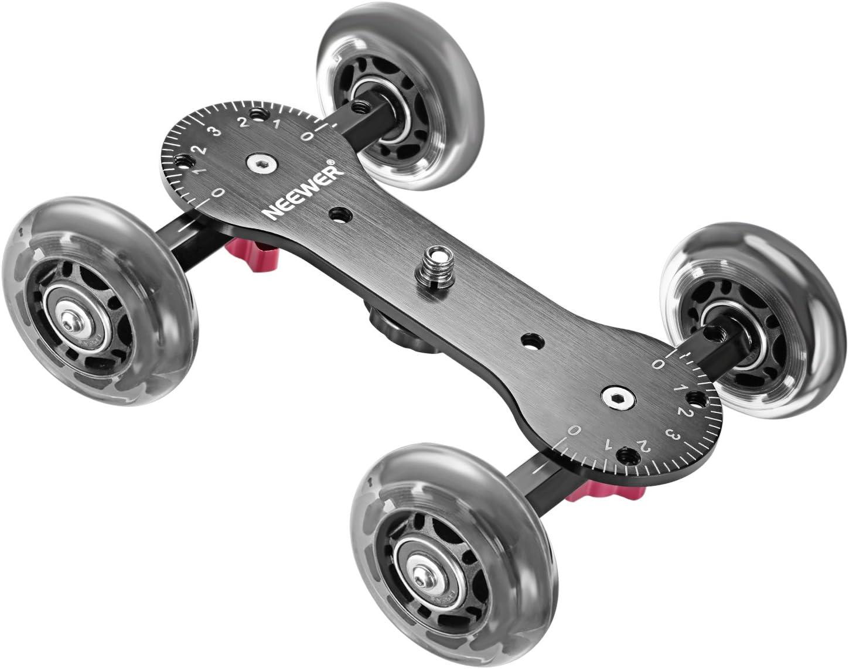 Neewer Scaled Cámara Cuadro Dolly Slider con 10Kg Capacidad de Carga Diseño de Patinador Varillas de Aluminio Giratorio Ruedas de Goma(1/4,3/8