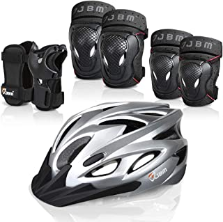 JBM 7 Pieces Protective Gear Set- Adult Bike Helmet, BMX Knee and Elbow Pads with Wrist Guards, Bike Protective Gear Set ...