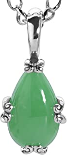 Sterling Silver Green, Blue or Pink Jade Gemstone Pear-Shape Pendant Necklace 17 Inch
