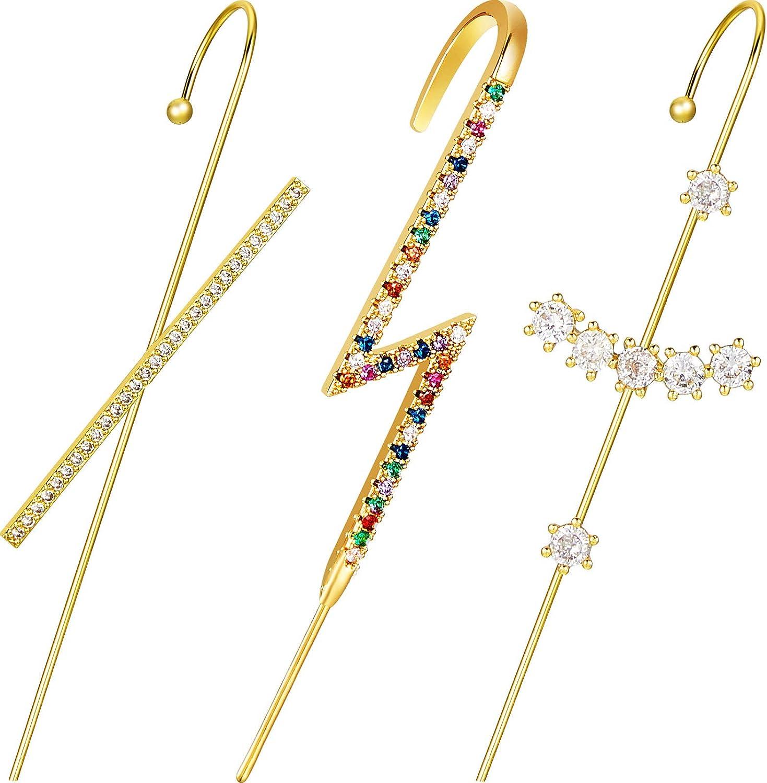 3 Pieces Ear Crawler Earrings Ear Cuff Wrap Crawler Hook Earrings Rhinestone Ear Jewelry for Women Girls Valentine Day Wedding (Charming Style)