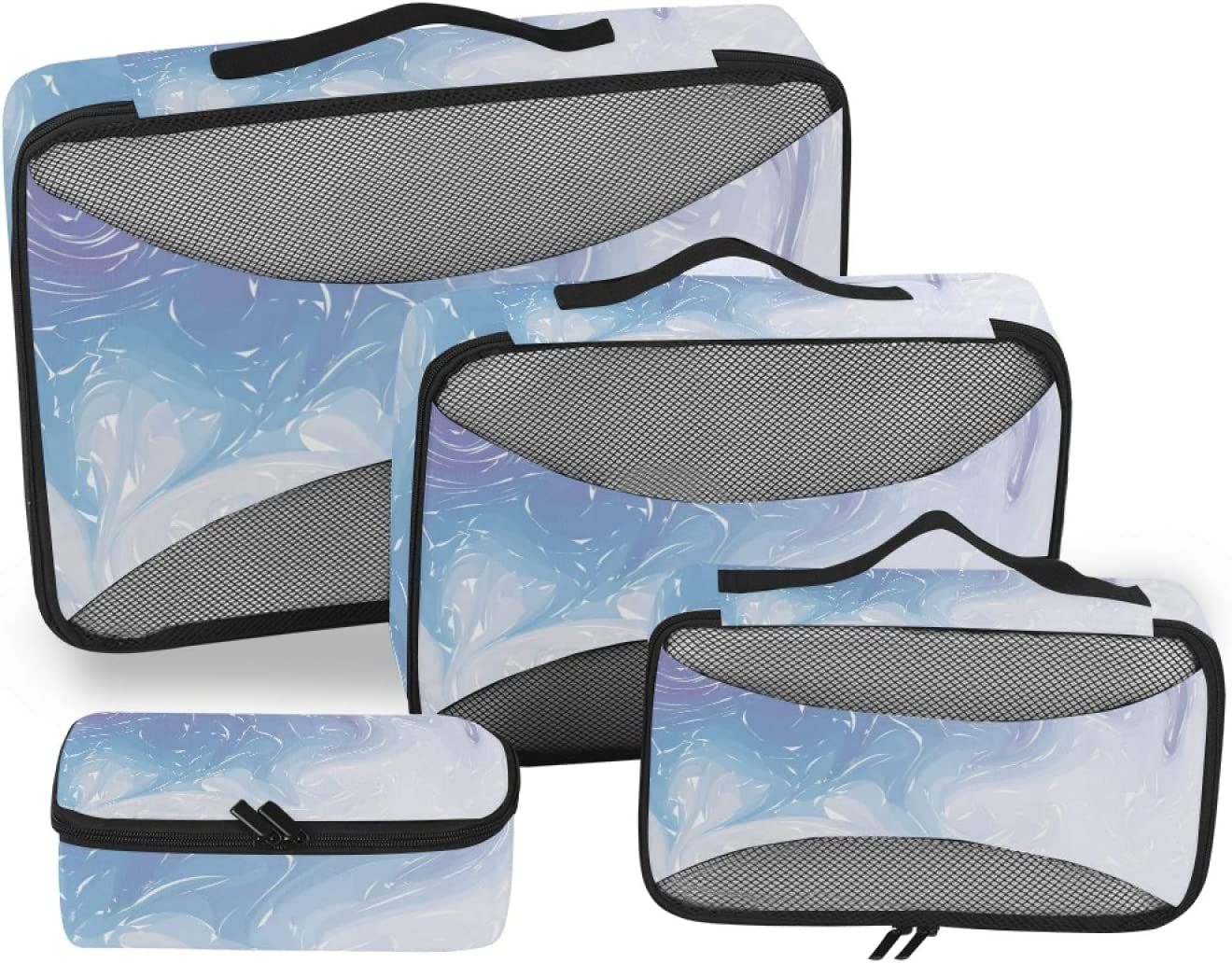 Purple Marble Packing Cubes 4-Pcs S Organizer Accessories Travel Cheap mail order specialty store Sale