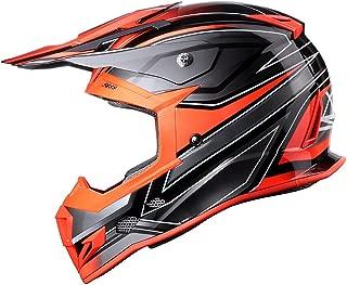 GLX Unisex-Adult GX23 Dirt Bike Off-Road Motocross ATV Helmet DOT Approved (Sear Orange, Large)
