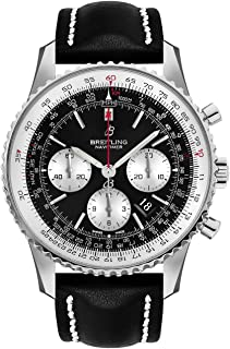 Navitimer 1 B01 Chronograph 46 Steel Men's Watch on Black Leather Strap AB0127211B1X1