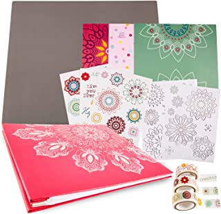 JK Crafts Coral Pink Mandala Scrapbook Album Kit, Scrapbook 12x12, Photo Album Scrapbook, Large 12x12 Photo Album, Mandala Scrapbooking Supplies, Scrapbook Paper Crafting, Scrapbooking Gift