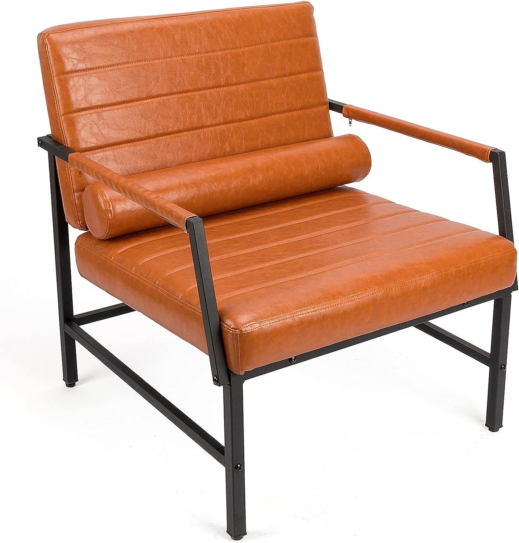 BlueOcean Furniture Silla de piel sintética acolchada con patas de metal para sofá cómoda sillas de lectura sillas de recepción sillas de brazo modernas para sala de estar dormitorio estudio y balcón