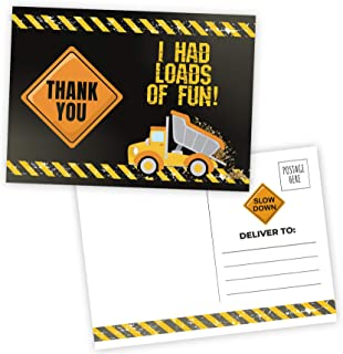 Deluxe Construction Truck Thank You Postcards- 20 Large 5 x 7 fill in cards for Birthday Party, Baby Shower, Note Cards, Stationary, Kids Party Supplies Made in the USA