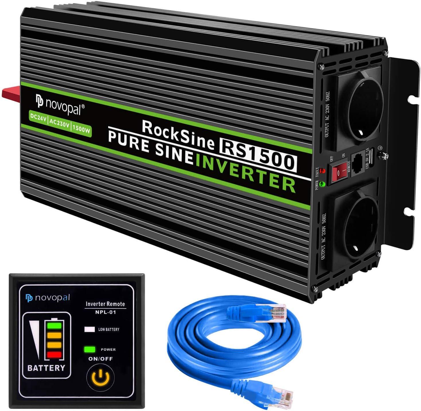1500W convertidor de Voltaje de Onda sinusoidal Pura de Coche-convertidor de Coche 24v a 230v convertidor - convertidor de inversor con 2 enchufes EU y Puerto USB-Incl. Mando a Distancia de 5 Metros