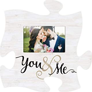 P. Graham Dunn You and Me Wedding Whitewashed 12 x 12 Wood Puzzle Piece Wall Photo Frame