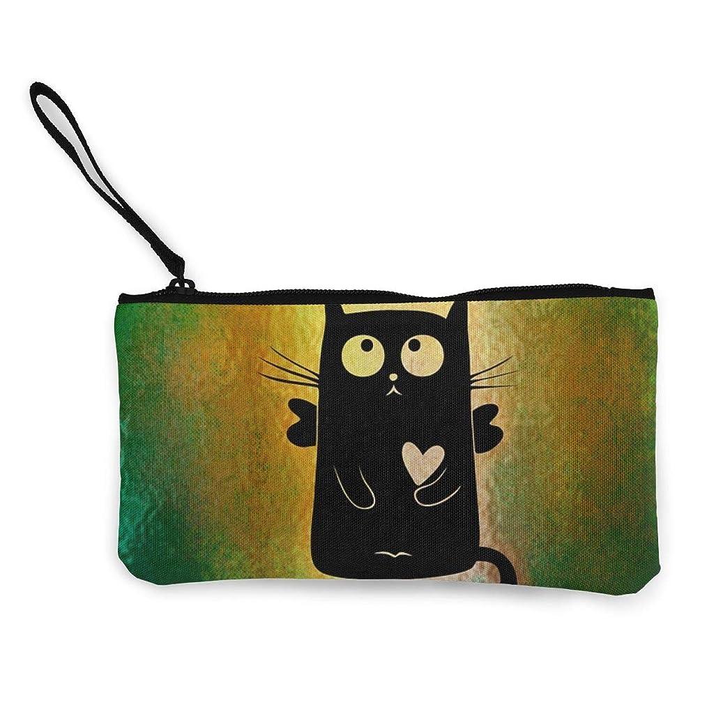 コミュニティ梨パンチErmiCo レディース 小銭入れ キャンバス財布 猫 ハロー おかしい 小遣い財布 財布 鍵 小物 充電器 収納 長財布 ファスナー付き 22×12cm