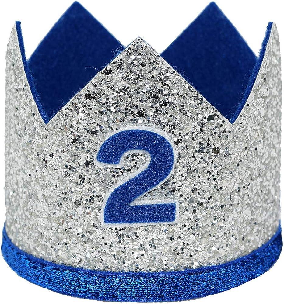 Maticr Shiny 2nd 3rd Birthday Crown Baby Boy Prince Headband Party Supplies