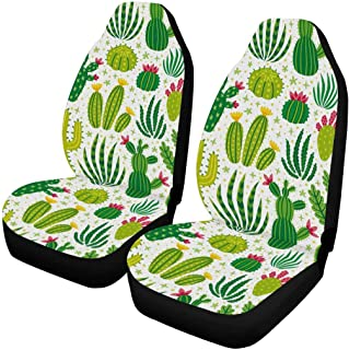INTERESTPRINT Front Seat Covers 2 pc,Vehicle Seat Protector Car Mat Covers, Fit Most Cars, Sedan, SUV, Van