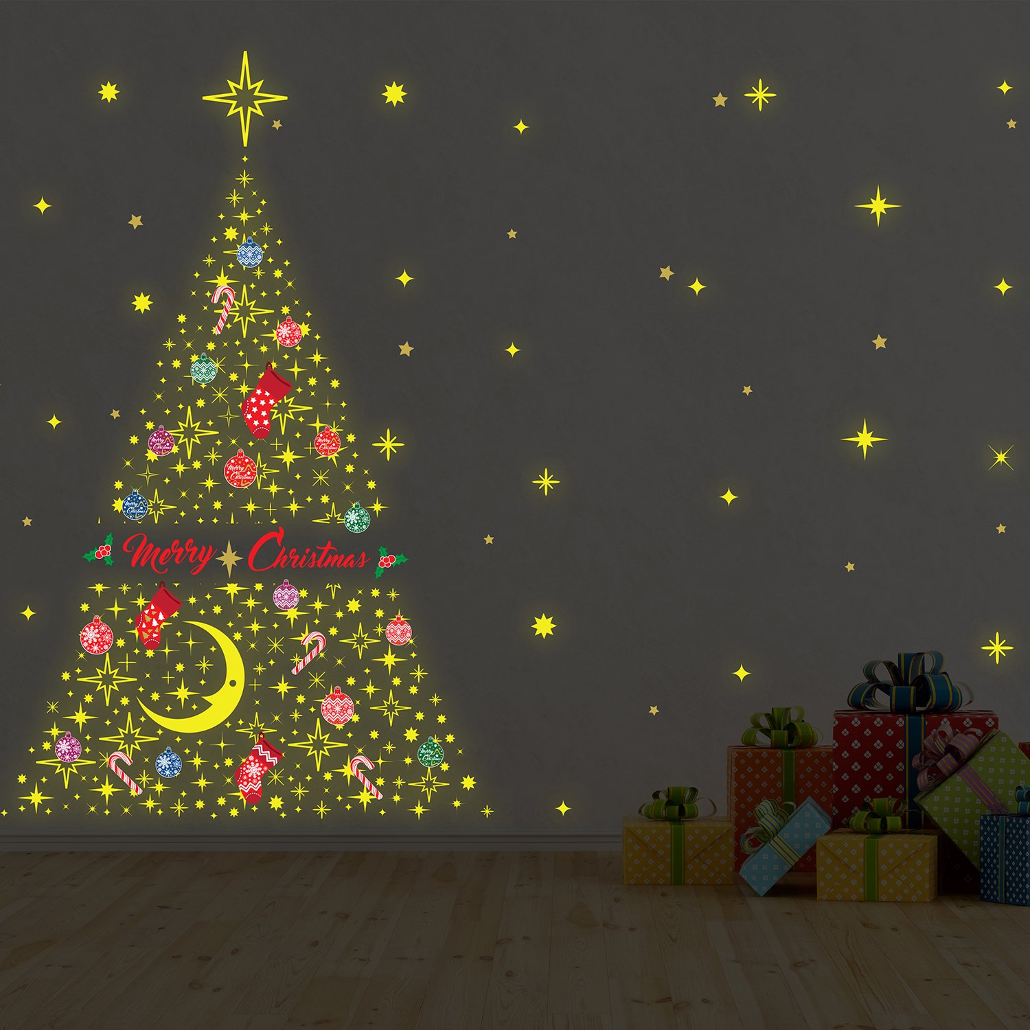 Wallflexi Christmas Decorations Wall Stickers Glow In Dark Christmas Tree Wall Murals Decals Living Room Children Nursery School Restaurant Cafe Hotel Home Office Decor Multicolour Amazon Co Uk Kitchen Home