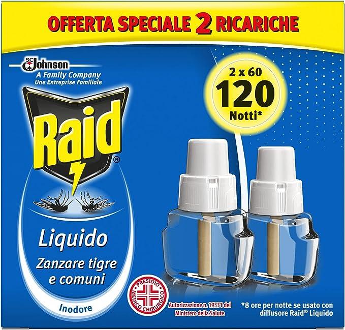 1041 opinioni per Raid Liquido Ricarica, Antizanzare Elettrico Inodore, Confezione da 2 Ricariche