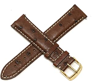 20MM Brown Ostrich Leather Watch Strap with Gold Stainless Buckle fits 42mm Bellezza Watch