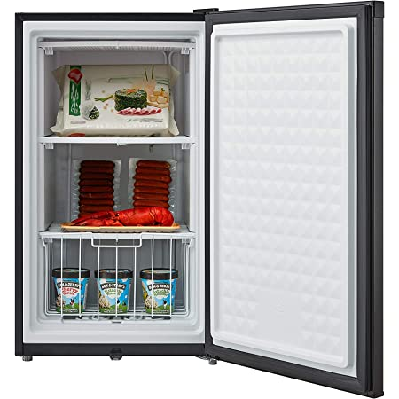 Impecca Upright Freezer 3.0 Cubic Feet Rapid Cooling Compact Freezer with Key & Lock, Reversible Door, Adjustable Thermostat, Removable Storage Basket, Energy Star - Black
