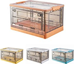 JIARIOME Collapsible Storage Bins with Lids - Folding Plastic Stackable Utility Crates, 52 L, 1 Count (Orange)