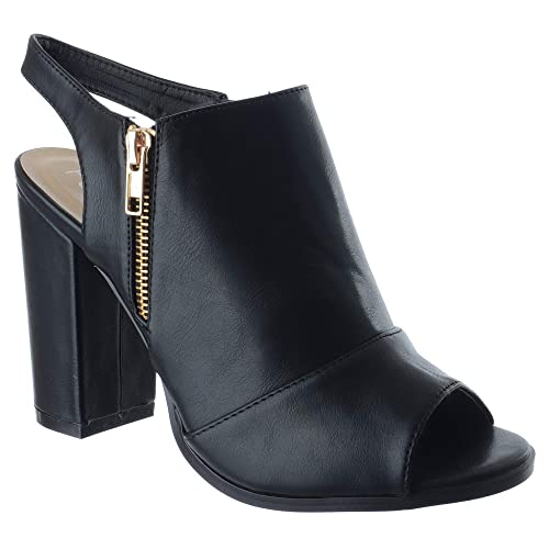4ca1d0338c48 Miss Image UK Ladies Womens HIGH Block Heel Zip UP PEEP Toe Cut Out Ankle  Boots