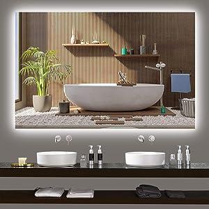 TokeShimi 55x 36 Inch LED Backlit Mirror Bathroom Vanity Mirror Large Anti-Fog Wall Mounted Lighted Mirror Dimmable Makeup Mirror with Lights Bathroom Decor Birthday Gift Wedding Gift