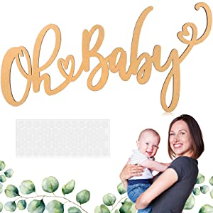 Baby Sign Baby Wooden Sign Wood Baby Shower Banner Gender Reveal Backdrop Boy Girl 1st Birthday Wall Banner Baby Letter Party Decorations for Table Nursery Wall Decor Photo Props, 13.8 x 7.9 Inch